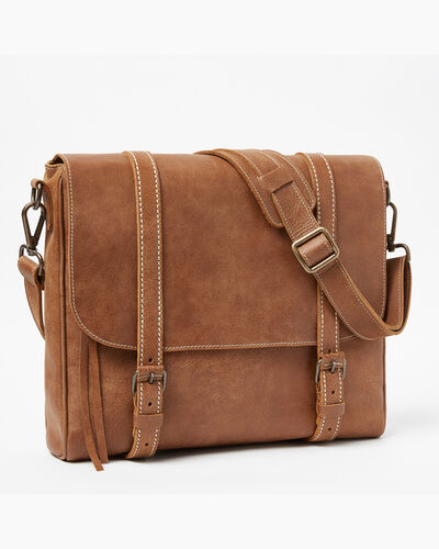 Roots-Leather Briefcases & Messengers-Modern Satchel Tribe-Natural-A