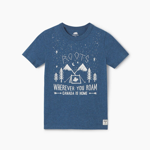 Roots-Kids New Arrivals-Boys Roots Outdoors T-shirt-Blue Mix-A