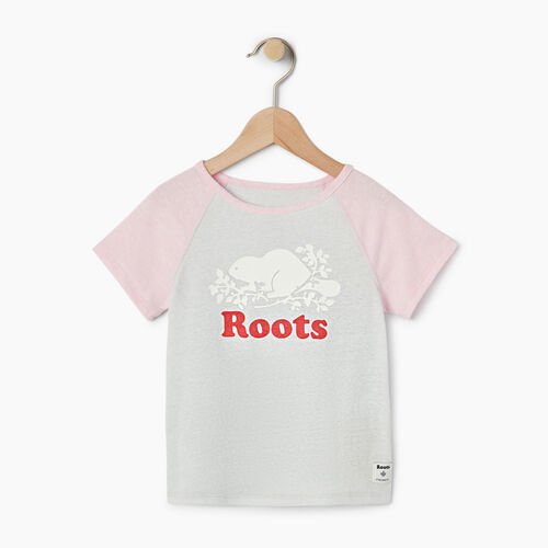 Roots-Clearance Kids-Girls Cooper Beaver Raglan Top-Pink Mist-A