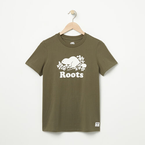 Roots-Women Graphic T-shirts-Womens Original Cooper Beaver T-shirt-Dusty Olive-A