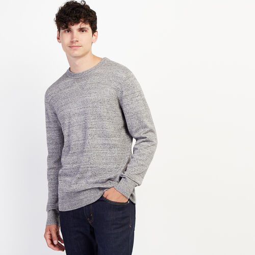 Roots-Men Clothing-All Seasons Crew Sweater-Sharkskin Mix-A