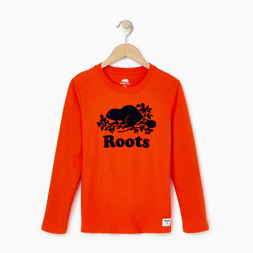Roots-Kids Our Favourite New Arrivals-Boys Original Cooper Beaver T-shirt-Spicy Orange-A