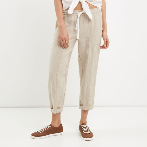 Roots-Women Bottoms-Sadie Pull On Pant-Natural-A