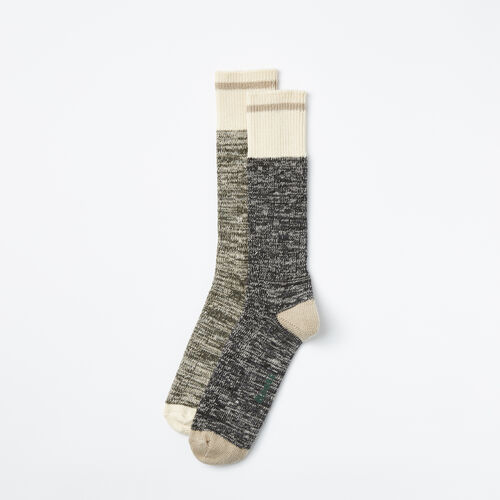 Roots-Men Socks-Mens Cotton Cabin Sock 2 Pack-Tarmac Mix-A