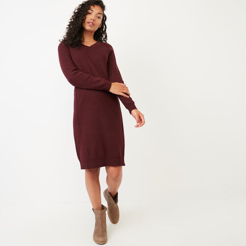 Roots-Women Categories-Kemano Sweater Dress-Crimson-A