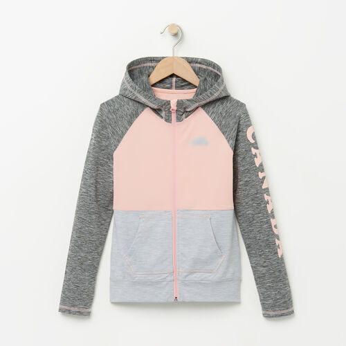Roots-Kids Girls-Girls Lola Active Full Zip Hoody-Charcoal Mix-A