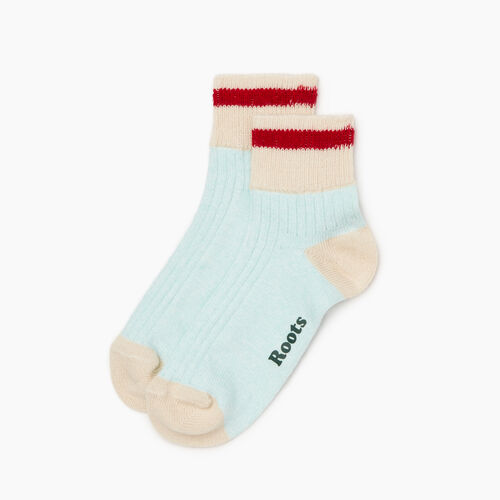 Roots-Women Categories-Womens Cotton Cabin Ankle Sock 2 Pack-Aquifer-A