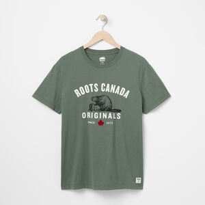 Roots-Men Graphic T-shirts-Mens Roots Original T-shirt-Duck Green-A