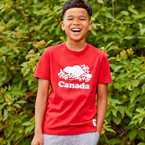 Roots-Kids Tops-Boys Canada T-shirt-Sage Red-A