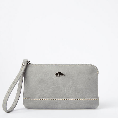 Roots-Leather Collections-Funky Zip Pouch Tribe-Quartz-A
