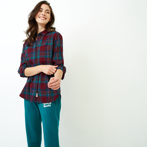 Roots-Women Tops-Relaxed Flannel Shirt-Crimson Mix-A
