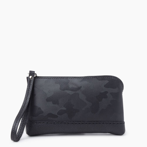 Roots-Women Leather-Funky Zip Pouch Camo-Black Camo-A