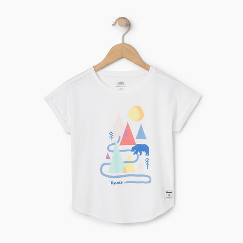 Roots-Clearance Kids-Girls Camp T-shirt-Ivory-A