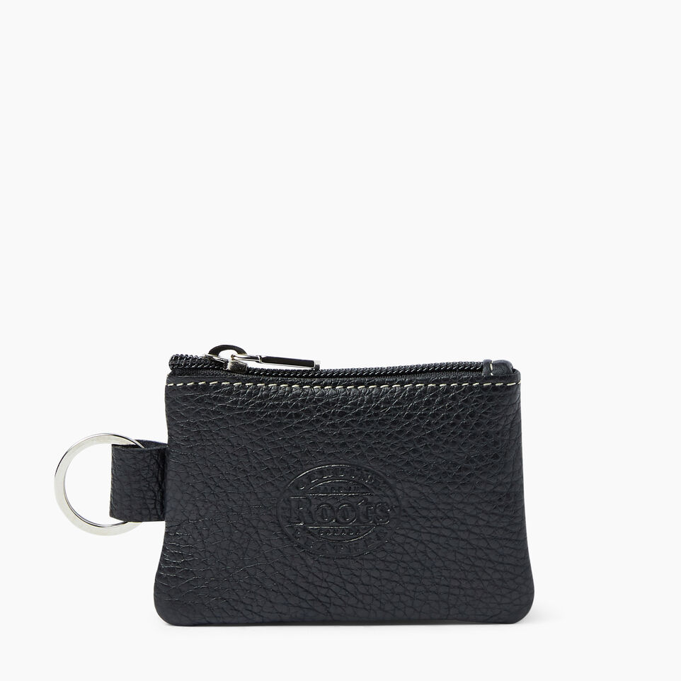 Roots-Women Leather Accessories-Top Zip Key Pouch-Black-B