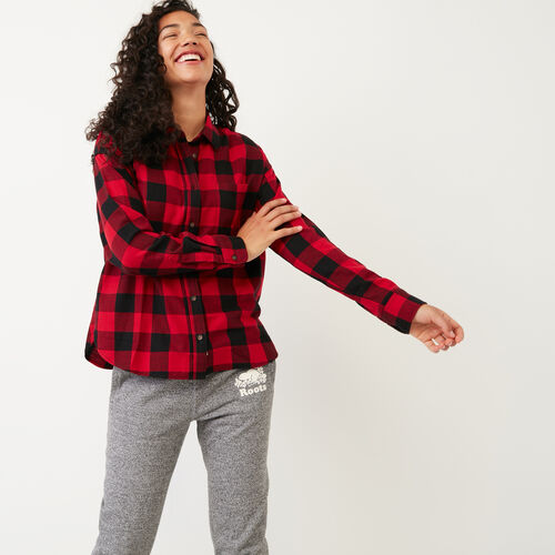 Roots-Women Categories-Box Cut Flannel Shirt-Lodge Red-A