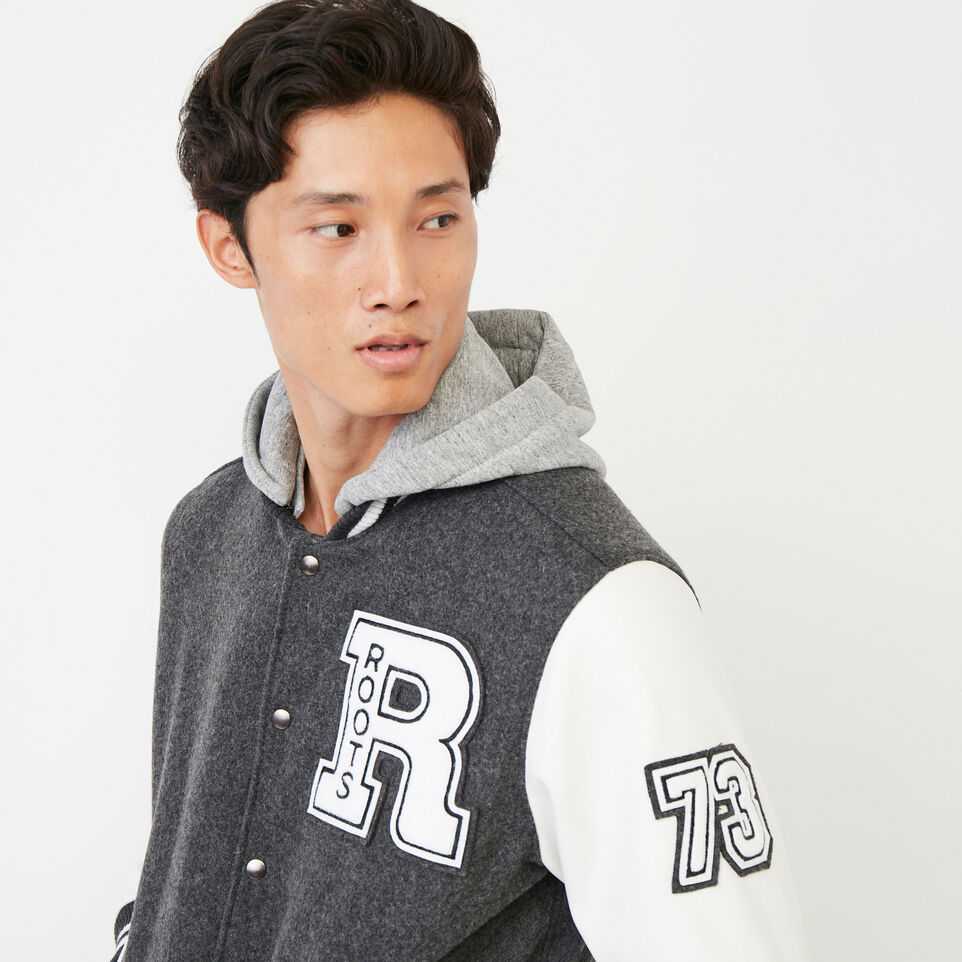 Roots-Men Award Jackets-Mens Hoody Award Jacket-Grey-E