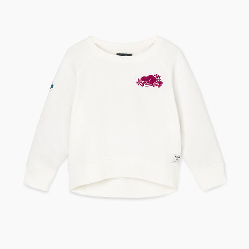 Roots-Kids Tops-Toddler Remix Crew Sweatshirt-Ivory-A