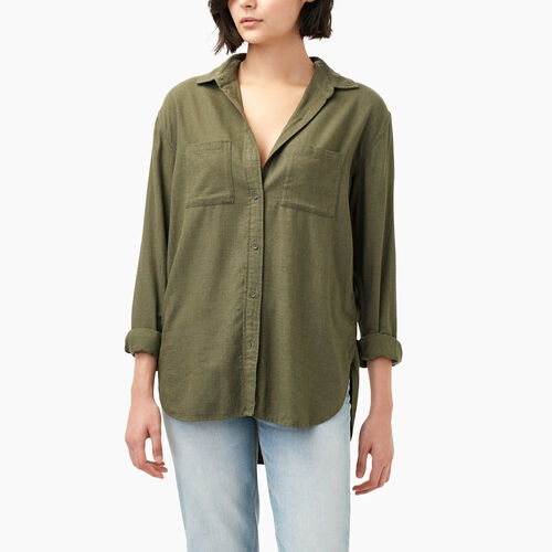 Roots-Sale Women-Novelty Arria Boyfriend Shirt-Dark Olive Green Mix-A