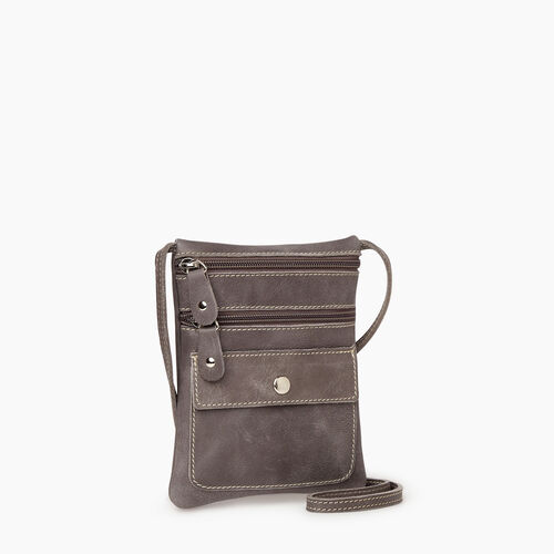 Roots-Leather Crossbody-Hanging Pouch Tribe-Charcoal-A