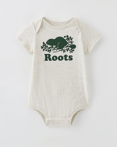 Roots-New For This Month Diy Collection-Baby Cooper Beaver Bodysuit-White Grey Mix-A