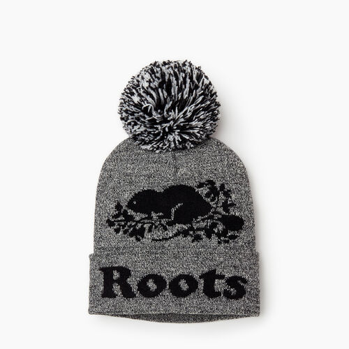 Roots-Women Categories-Cooper Beaver Pom Pom Toque-Salt & Pepper-A