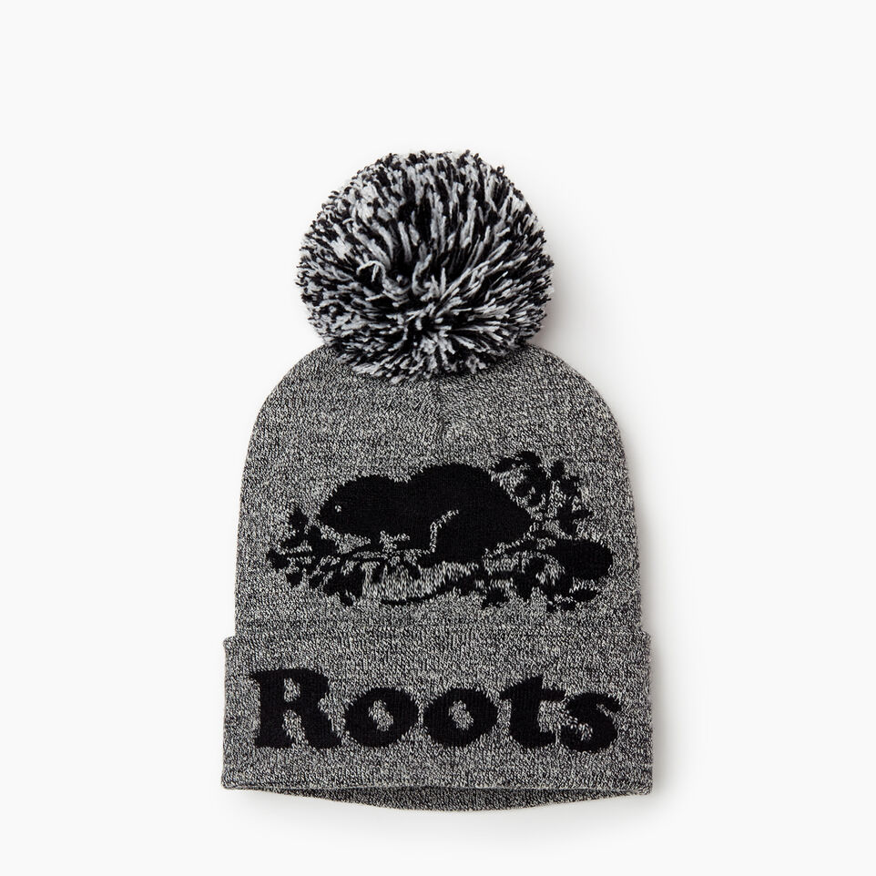 Roots-Men Categories-Cooper Beaver Pom Pom Toque-Salt & Pepper-A