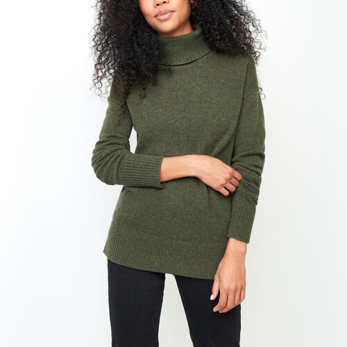 Roots-Women Sweaters & Cardigans-Sherbrooke Turtleneck Sweater-Olive Night-A