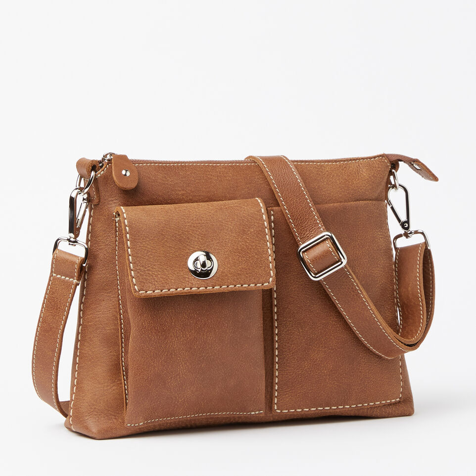 Roots-Leather Handbags-The Villager Tribe-Natural-A