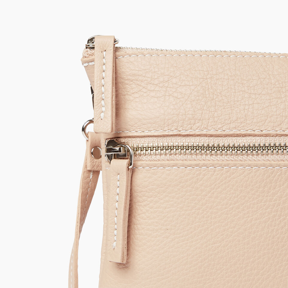 Roots-Leather Our Favourite New Arrivals-Double Zip Wristlet-Pink Mist-D
