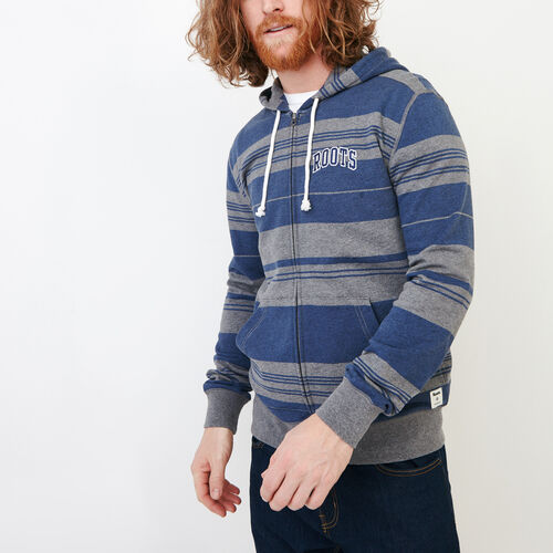 Roots-Clearance Men-Rugby Stripe Zip Hoody-Med Grey Mix-A