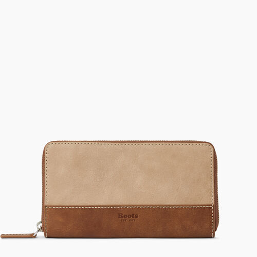 Roots-Leather  Handcrafted By Us Wallets-Zip Around Wallet-Sand/natural-A