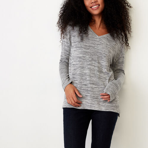 Roots-Women Long Sleeve Tops-Melissa V Neck Top-Medium Grey Mix-A