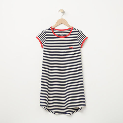 Roots-New For April Kids-Girls Ava Stripe Dress-Birch White-A