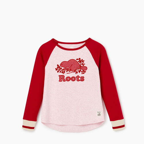 Roots-Kids Tops-Girls Cabin Baseball T-shirt-Cabin Red-A