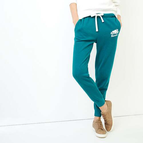 Roots-Women Sweatpants-Original Slim Cuff Sweatpant-Everglade Green-A