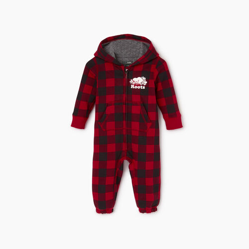 Roots-Kids Baby Girl-Baby Roots Park Plaid Onesie-Cabin Red-A
