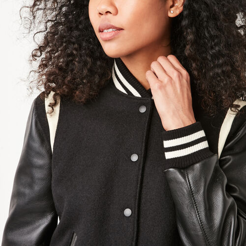 Roots-Women Award Jackets-Dakota Jacket Melton-Black-A