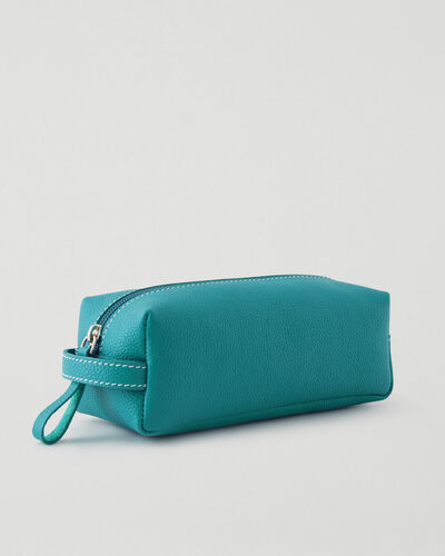 Roots-Leather Tech & Travel-Medium Utility Pouch Cervino-Blue Lagoon-A