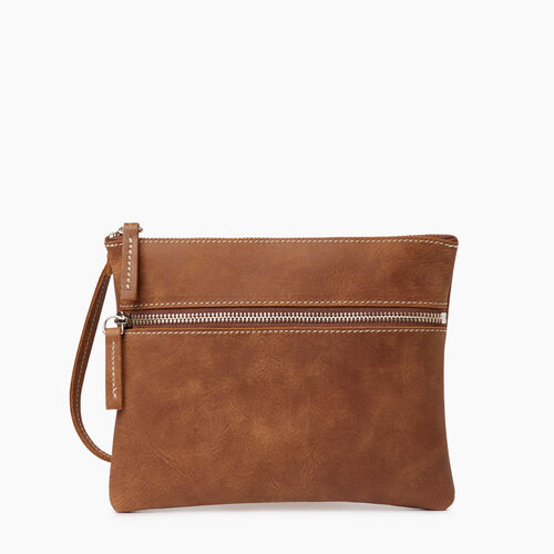 Roots-Women Leather Accessories-Double Zip Wristlet-Natural-A