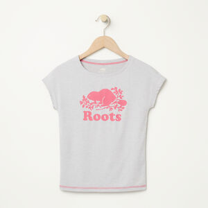 Roots-Kids T-shirts-Girls Roots Active T-shirt-White Grey Mix-A