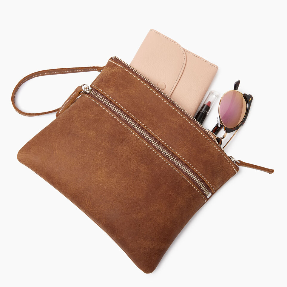 Roots-Leather  Handcrafted By Us Our Favourite New Arrivals-Double Zip Wristlet-Natural-B