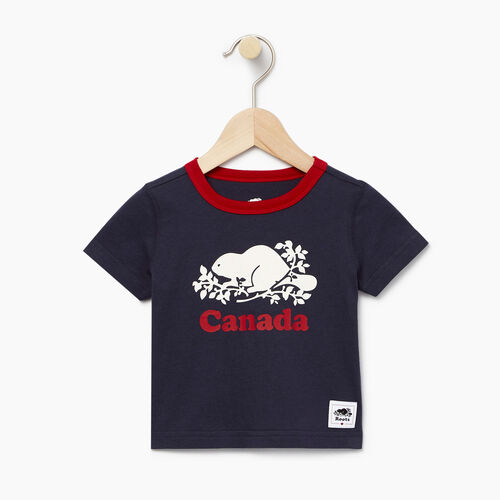 Roots-Clearance Baby-Baby Cooper Canada Ringer T-shirt-Navy Blazer-A