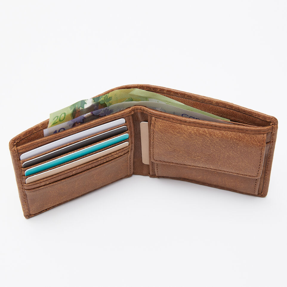 Roots-Leather Men's Wallets-Mens Slimfold Wallet With Coin Pocket Tribe-Natural-B