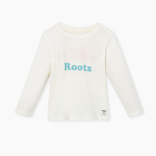 Roots-Kids T-shirts-Toddler Original Cooper Beaver T-shirt-Egret-A