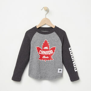 Roots-Kids Canada Collection-Toddler Heritage Canada Long Sleeve T-shirt-Salt & Pepper-A