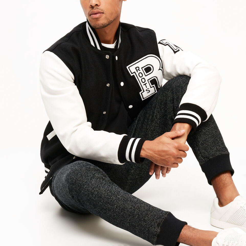 Roots-Leather  Handcrafted By Us Award Jackets-Vintage Award Jacket-Black & White-B