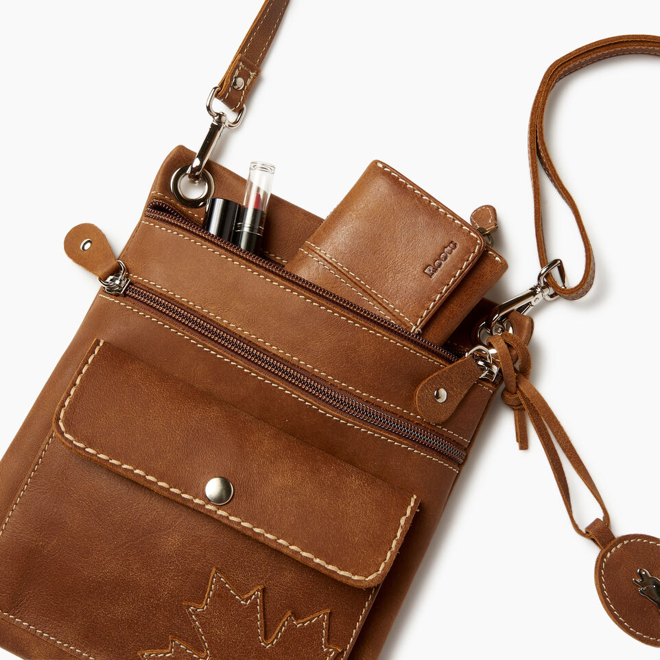 Roots-Leather  Handcrafted By Us Categories-Trans Canada Urban Pouch-Natural-D