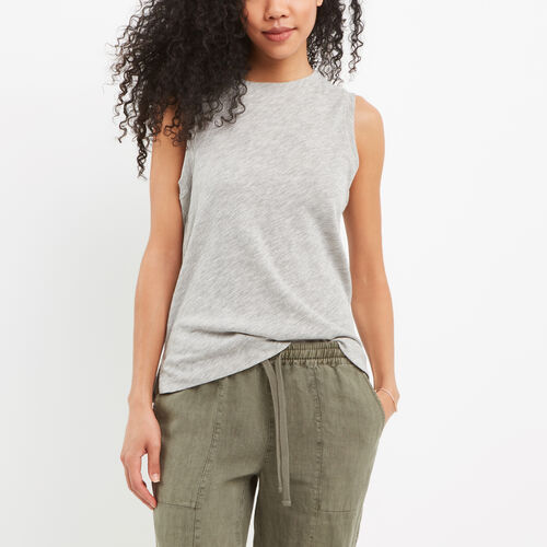 Roots-Women Tanks-Ruby Muscle Tank-Grey Mix-A