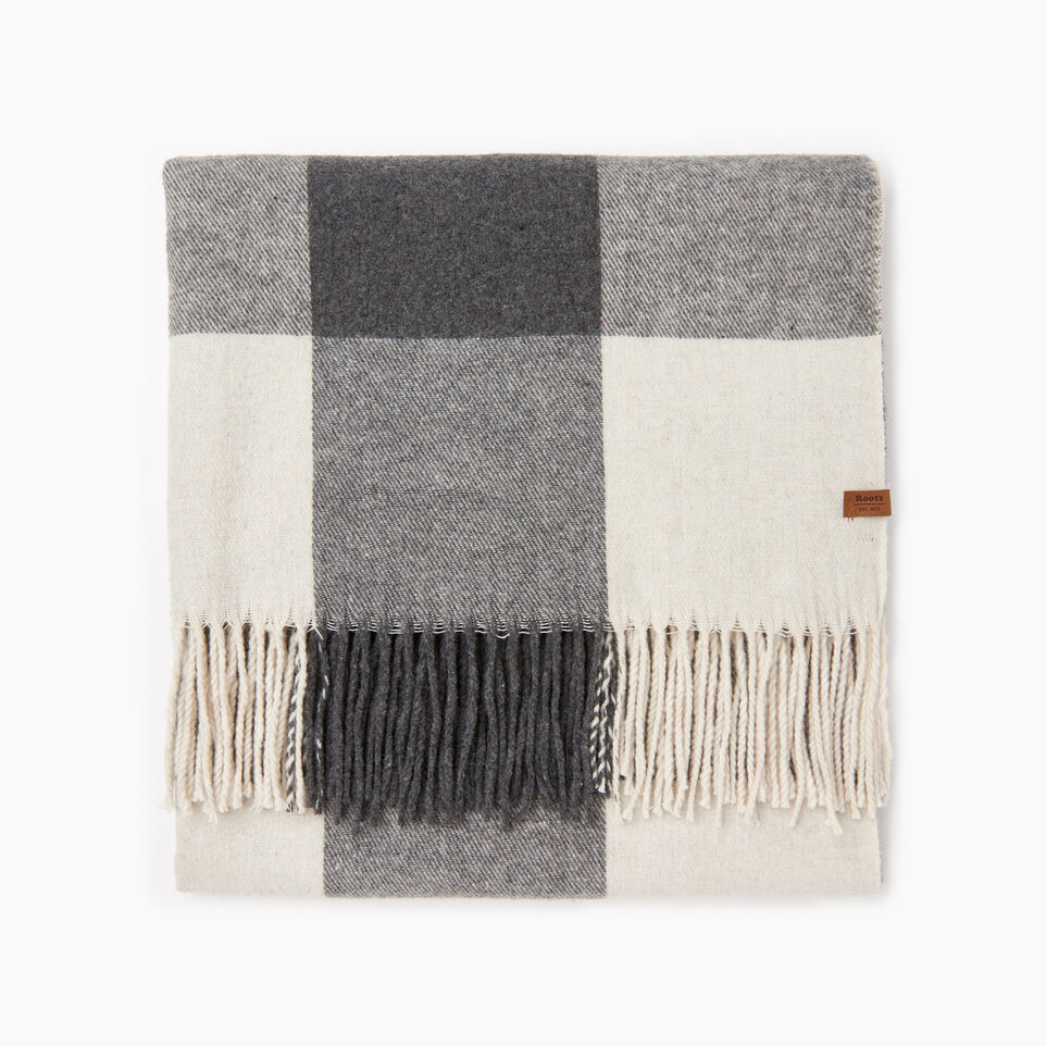 Roots-New For December Today Only: 40% Off Park Plaid Collection-Roots Park Plaid Blanket Scarf-Light Fog-B