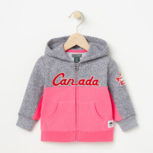 Roots-Kids Canada Collection-Baby Heritage Script Full Zip Hoody-Pink Flambé-A